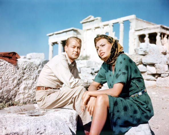 Sophia Loren with her Boy on a Dolphin co-star Alan Ladd in front of the Erechteum 1957