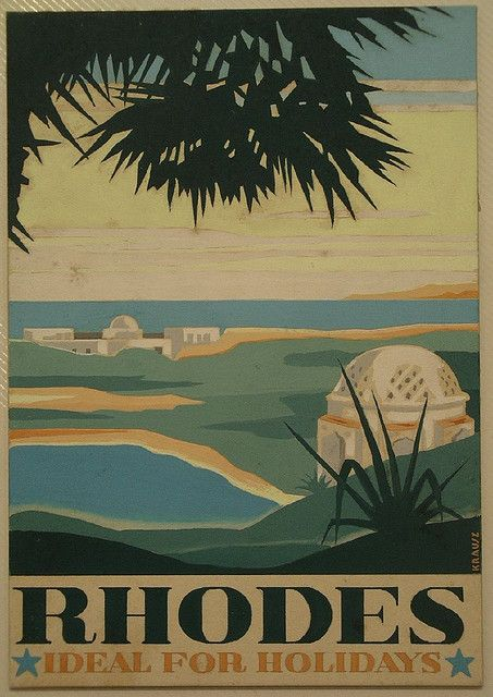 Vintage travel poster for Rhodes- ideal for holidays designed by the artist Franz Krausz kitsakis