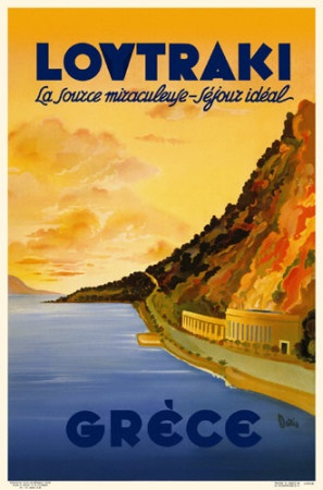 Vintage travel poster of Loutraki Greece 1930s kitsakis