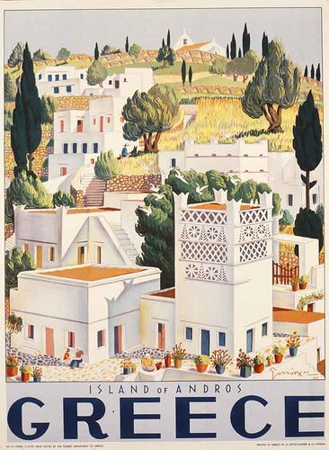 Vintage travel poster of island of Andros Greece designed by G. Moschos 1949